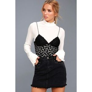 Sky Full Of Stars Black Denim Mini Skirt